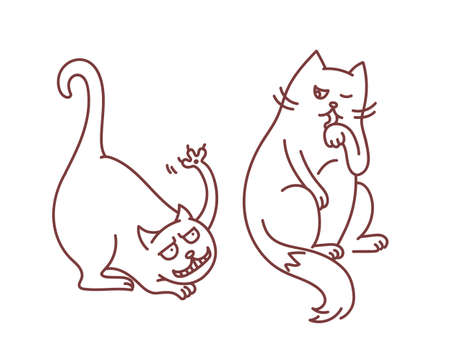 Bad hooligan cat fights and provokes calm and smart cat who don't care and watch licking paw concept funny pents linear vector doodle illustration isolated on white