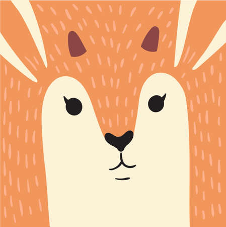 Cute red deer cartoon animal portrait with smiling face wild forest animal head card with antlers horns fur, copy space vector illustration