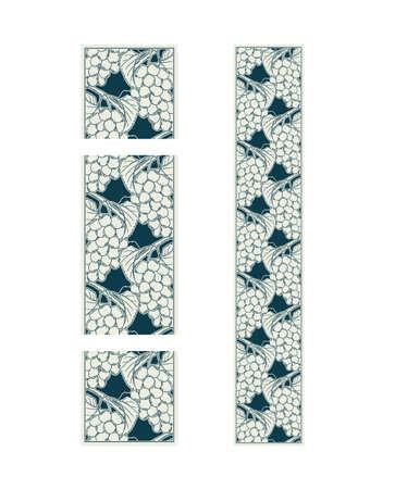 Vector illustration of seamless decorative ornamental border with grape vines, monochrome ripe fruits art nouveau decoration for design as botanical illustration