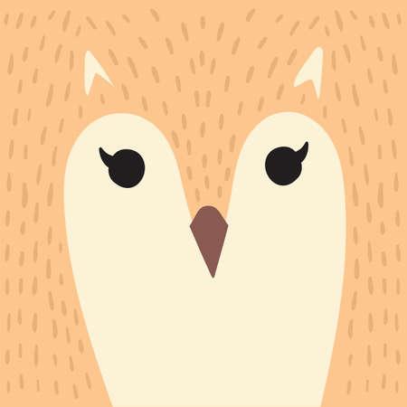 Cute orange owl cartoon animal portrait with feathers face bird head card with copy space vector illustration Ilustração