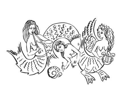 Ilustración de tinta medieval de la orquesta de sirena viñeta manuscrita iluminada de tres sirenas con tambor de arpa y flauta tocando música aislado en blanco