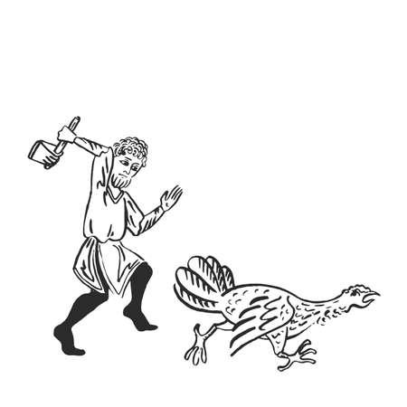 Pavo de acción de gracias perseguido por hombre con hacha de guerra divertida ilustración de tinta medieval iluminado vector gótico de arte manuscrito aislado en blanco con concepto de crueldad de espacio de copia