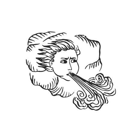 Dieu du vent âges médiévaux style illustration gravée manuscrite illuminée encre art comme tête d'homme dans les nuages soufflant fort vent de tempête nature catastrophe concept vecteur isolé sur blanc