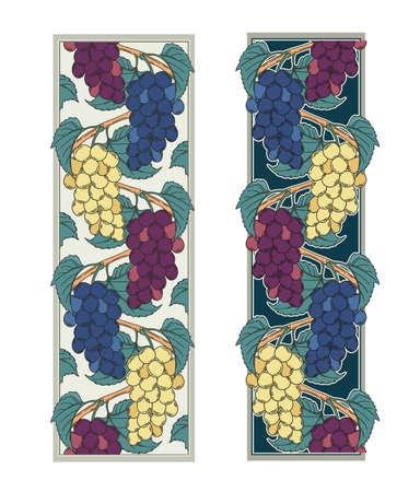 Grape vines vector illustration of decorative ornamental vignette borders set three sorts of muscat grape ripe fruits art nouveau decoration for design as botanical illustration 矢量图像