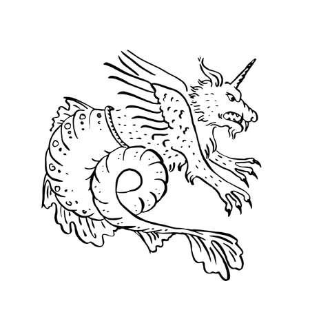 Drachen-Chimäre, die mit Einhorn-Tier fliegt Mittelalter-Stil Kunst als handgezeichnete Tinte beleuchtete Manuskript Malerei dekorative Vignette isoliert auf weiß