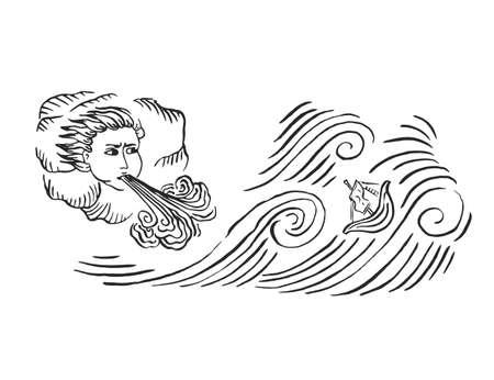 Viento de tormenta de océano de arte medieval con olas y nave monjes europeos iluminados dibujo de tinta manuscrito dibujo vintage con ilustración de vector de huracán de mar aislado en blanco