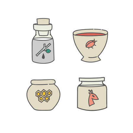 Natural organic products containers glass bottle jar bowl and pot set of doodles outline linear icons collection of ingredients fat honey birch sap color vector illustration isolated on white Ilustração