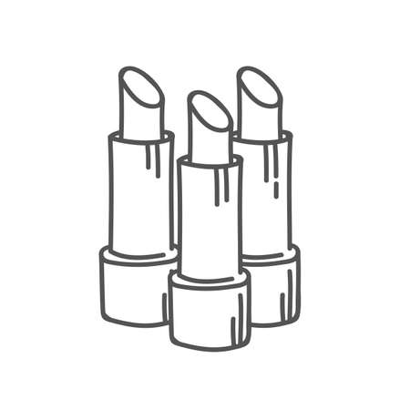 Lipstick tubes linear outline set, vector illustration collection of lip make up of different colors make-up cosmetic package isolated on white.