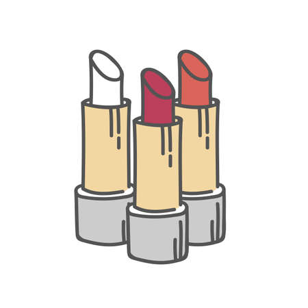Lipstick tubes set, vector illustration collection of lip make up of different colors make-up cosmetic package isolated on white. Ilustração