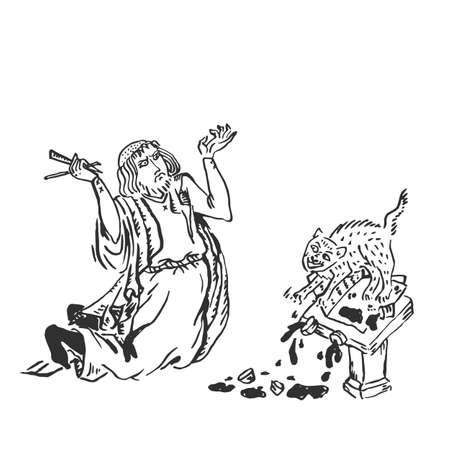 Artista medieval enojado con un gato hizo lío y libro estropeado - monje europeo con pluma sobre las rodillas dibujo a tinta manuscritos iluminados - ilustración vectorial aislado en blanco Ilustración de vector