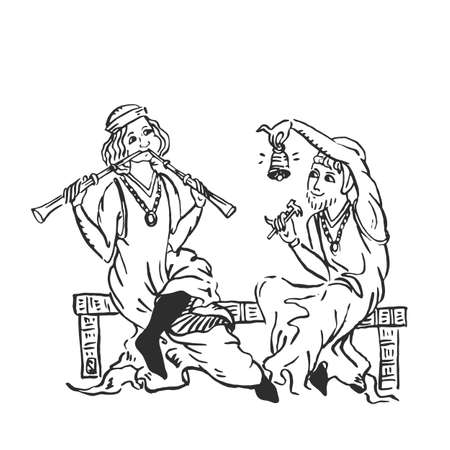 Dúo de músicos medievales de campana de flauta y percusión - dúo de realización en la fiesta del castillo - monjes europeos iluminados manuscrito tinta dibujo ilustración vectorial vintage aislado en blanco