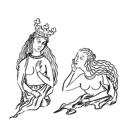 Reina del arte medieval con corona y enly mujer celosa y chismes, tinta ilustración manuscrito iluminado vector de concepto de estado de redes sociales aislado en blanco