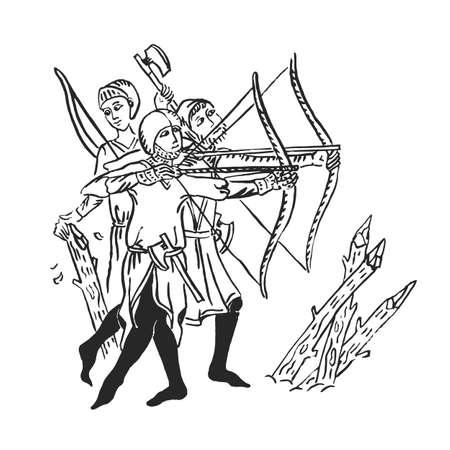 Arcieri di arte medievale con illustrazione di inchiostro longbow in manoscritto illuminato attacco dell'esercito nella guerra dei secoli bui e asce barbute per la difesa, vettore isolato su bianco Vettoriali