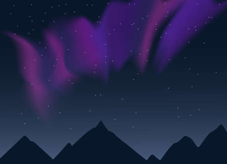 Vector aurora borealis illustration of night lanscape with mountains sihouettes, starry sky and purple, pink and blue synthwave style northern lights