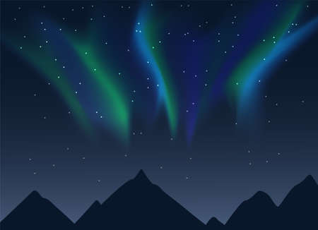 Vector aurora borealis illustration of night lanscape with mountains sihouettes, starry sky and green and blue synthwave style northern lights