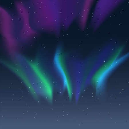 Vector aurora borealis illustration of night starry sky and purple, pink and blue synthwave style northern lights Ilustração