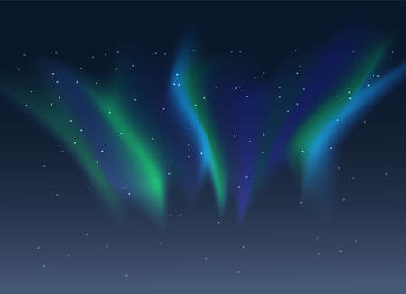 Vector aurora borealis background of night starry sky and green and blue synthwave style duotone gradient northern lights Ilustração