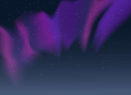 Vector aurora borealis illustration of night starry sky and purple, pink and blue synthwave style northern lights