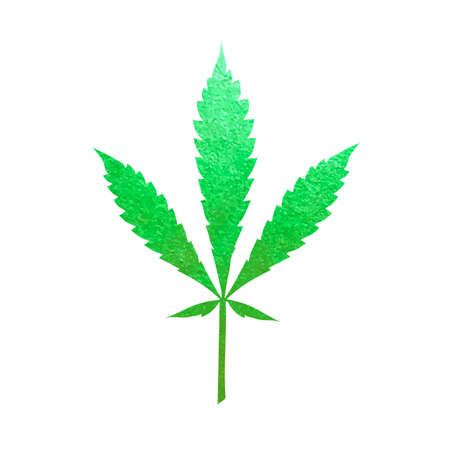 Green cannabis leaf vector - metallic emerald paint foil silhuette of marijuana ruderalis leaf on white background, green shiny weed sign Illustration