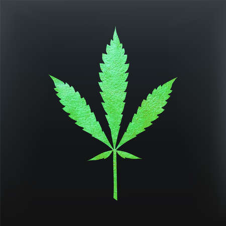 Green cannabis leaf vector - metallic emerald paint foil silhuette of marijuana ruderalis leaf on black background, green shiny weed sign