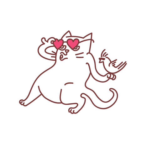 Pets friends cat and bird dancing together in cool glasses heart shaped pink eyeglasses outline whistling cat and cockatiel parrot going to party sketch vector illustration concept isolated on white
