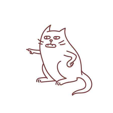 Sceptic cat argues with someone pointing with paw make lesson, condemn and judging pet concept funny doodle sketch vector outline illustration isolated on white background