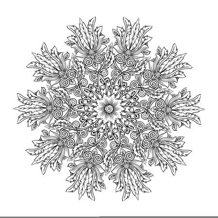 Mandala round decorative vector illustration is style of antique Roman and Greek ornaments with floral spirals, flowers and feathers, outline for coloring isolated on white