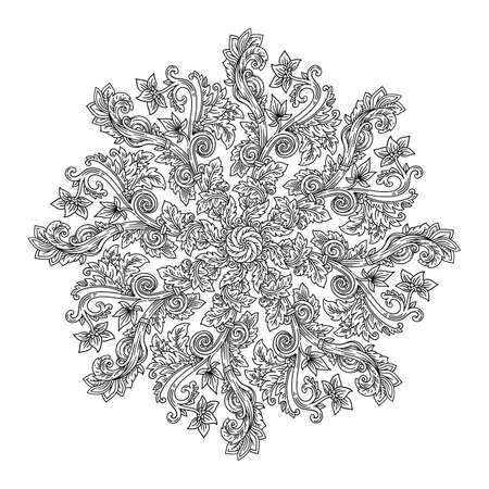 Mandala round Art-Nouveau Deco decorative vector illustration in style of antique Roman and Greek ornaments with floral spirals, flowers and botanical foliage, outline for coloring isolated on white