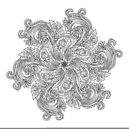 Antique mandala round decorative vector illustration in baroque style of antique Roman and Greek ornaments with floral spirals, flowers and curled waves, outline for coloring isolated on white