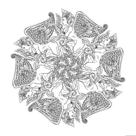 Mandala rond avec déesse grecque harpie femme tête de lion corps avec des ailes d'aigle créature mystique ronde ornement art-nouveau art déco vintage style floral botanique naturel vignette vecteur isolé sur blanc Vecteurs