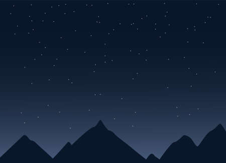 Vector illustration of starry night sky lanscape with mountains sihouettes, world tourism destinations wallpaper background trecking copy space backdrop with stars