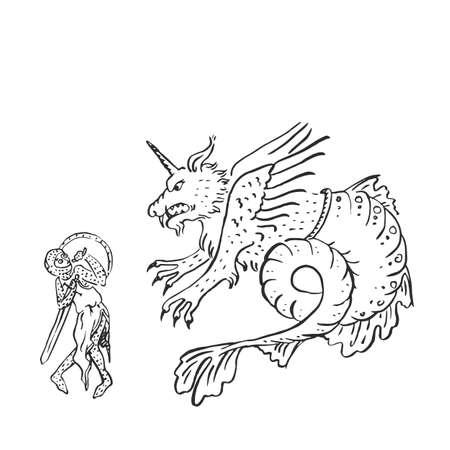 Cavaliere medievale con spada e scudo combatte drago spaventoso paura spaventata e concetto debole di codardo manoscritto illuminato disegno a inchiostro questioni sociali storia Medioevo europeo illustrazione vettoriale Vettoriali