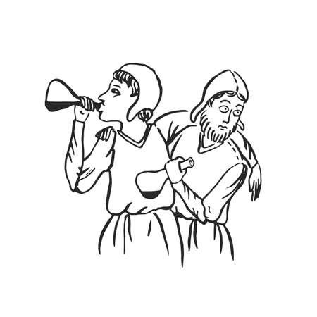 Mittelalterliche Kunst betrunkene Menschen Männer mit Flaschen Wein und Trinkproblem beleuchtete Manuskript Tinte Zeichnung Sozialalkoholismus Konzept Europäische Mittelalter Vektorgrafik isoliert auf weiß