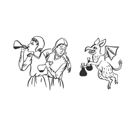 Arte medieval borrachos hombres con botellas problema de beber vino alucinar delirio viendo diablo ofreciendo vino manuscrito iluminado tinta alcoholismo social pecado concepto edad media vector Ilustración de vector