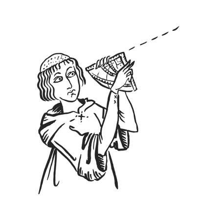 Monaco di arte medievale con navigatore stradale astrolabio dispositivo di navigazione gps storico tracciamento manoscritto disegno a inchiostro viaggio tecnologia concetto storia europeo Medioevo illustrazione vettoriale isolato