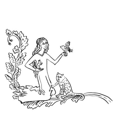 Medieval art of pets lover middle age style floral vignette with princess and friendly animals - cat, squirrel and bird, illuminated manuscript ink drawing animal protection concept history vector