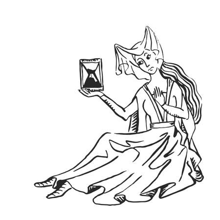 Arte medievale donna con clessidra manoscritto illuminato disegno a inchiostro tempo che passa concetto storia Medioevo europeo illustrazione vettoriale isolato su bianco Vettoriali