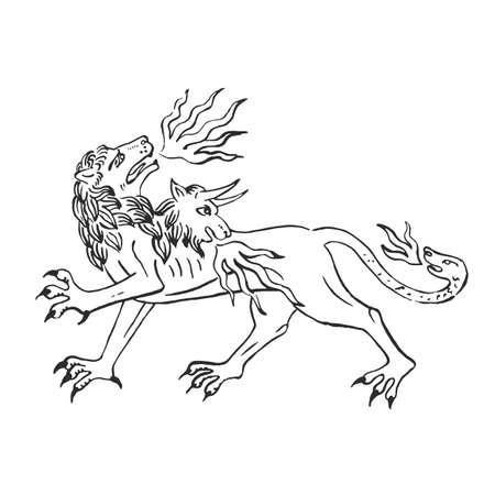 Arte medievale chimera sputa fuoco leone con testa di capra e serpente illuminato scorrimento illustrazione inchiostro disegno antica bestia nel bestiario dei monaci europei vettore isolato su bianco Vettoriali