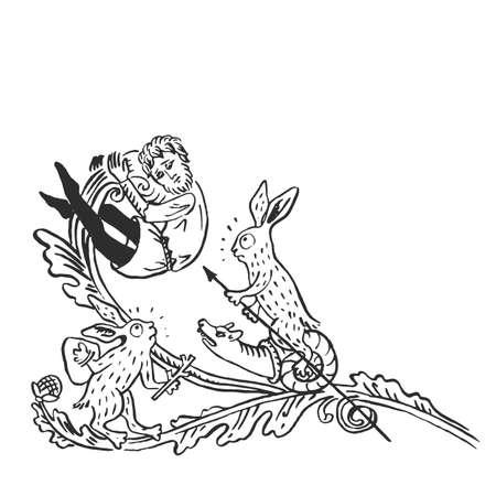 Mittelalterliche Kunstkaninchen, die Schnecken mit Waffenangriff reiten, menschlicher Mann Blumenvignette beleuchtetes Manuskript Tinte, die Geschichte der europäischen Mittelaltervektorillustration lokalisiert auf Weiß zeichnet