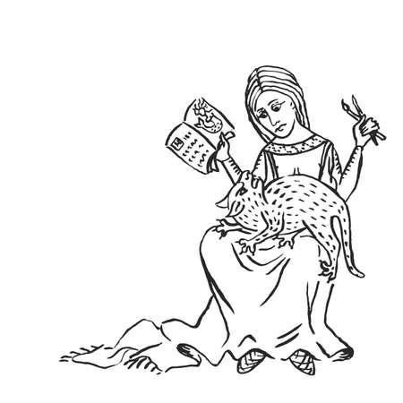 Arte medievale gatto sibila all'artista o cronista medievale donna che occupa grembo e interrompe il lavoro manoscritto illuminato disegno a inchiostro storia europea Medioevo illustrazione vettoriale isolato su bianco Vettoriali