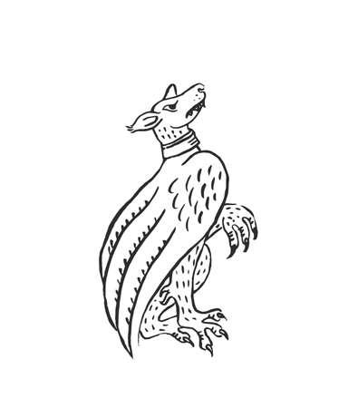 Mittelalterliche Kunst Chimäre fliegender Hund Wasserspeier beleuchtete Scroll Illustration Tuschezeichnung altes Tier im Bestiarium europäischer Mönche Vektor isoliert auf weiß