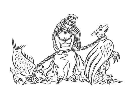 Mittelalterliche Kunst böse Königin mit Chimären-Haustieren in Ketten beleuchtete Manuskript Tinte Zeichnung Tier obuse Konzept Europäische Mittelalter Chompette-Vektor-Illustration isoliert auf weiß