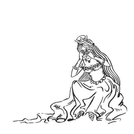 Arte medievale bella principessa nasconde il viso nelle mani giocando a nascondino manoscritto illuminato disegno a inchiostro storia europea Medioevo Boosette illustrazione vettoriale isolato su bianco Vettoriali