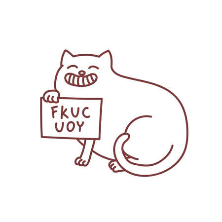 Offensive cat with sign Fkuc you internet troll concept of humiliation and bad behaviour funny doodle vector illustration isolated on white Illusztráció