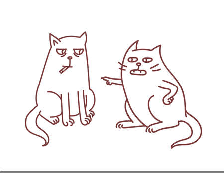 Cats representing health issues of smoking habit concept of parent educates and argues with teen child with cigarettes addiction and tobaco nicotine problems vector illustration. Ilustração