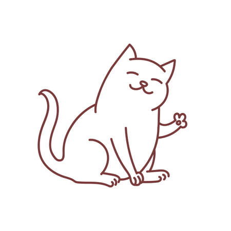 Friendly kitty waves paw and says hello greeting, doodle of cat cute and good kitten linear art oultine isolated on white Ilustração
