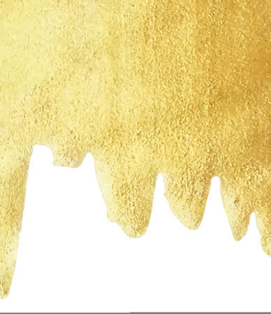 Gold paint drip isolated on white background golden foil or water metallic melt texture vector gold liquid sparkle border with copy space
