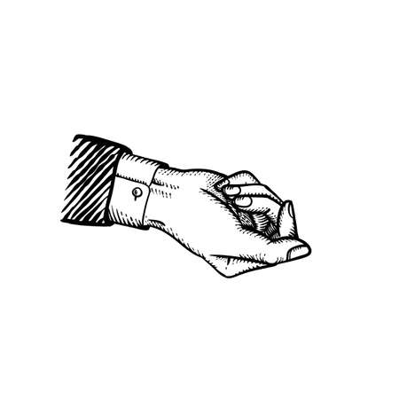 Classic style businessman hand in suit giving gesture holding something bribe or blackmail or holding mock up concept illustration engraved vintage style of vector hand in fist isolated on white Ilustração