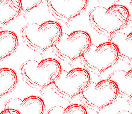 Hearts seamless pattern, sketch style red hearts on white background repeating background wrapping paper romantic valentine decoration cute and simple sweet backdrop