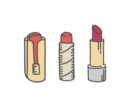 Red lipstick tubes set, vector illustration collection of lip make up of different shapes and styles make-up cosmetic packagse isolated on white
